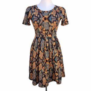 LulaRoe Amelia Dress paisley fall colors size XS